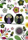 ROGER LA BORDE Elegant Owl white Glitzer Postkarte