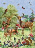 ROGER LA BORDE Deer Family Glitzer Postkarte