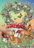 ROGER LA BORDE Deers in Love Glitzer Postkarte
