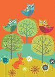 ROGER LA BORDE Owl Trio Glitzer Postkarte