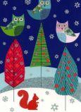 ROGER LA BORDE Owl Trio Xmas Glitzer Postkarte