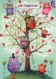 GOLLONG Zum Geburtstag - Eulen - Mila Marquis Postkarte