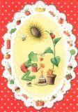 GOLLONG Frosch mit Sonnenblume - Nina Chen Postkarte