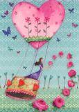 GOLLONG Frau im Heißluftballon m. Rosen - Mila Marquis Postkarte