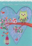 GOLLONG Zum Geburtstag - Eulen auf Herz - Mila Marquis Postkarte