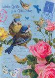 GOLLONG Zum Geburtstag - Vögel + Rosen - Carola Pabst Postkarte