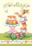 GOLLONG Frohes Osterfest - Hase mit Kuchen - Nina Chen Postkarte