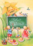 GOLLONG Frohe Ostern - Hasen an der Tafel - Nina Chen Postkarte