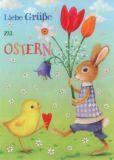 GOLLONG Grüße zu Ostern - Hase & Küken - Mila Marquis Postkarte