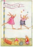 GRÄTZ Frohe Ostern - Hasen auf Trapez Postkarte