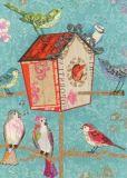 ROGER LA BORDE Aqua Birdhouse Glitzer Postkarte