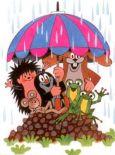 MT Maulwurf mit Freunden unterm Schirm Postkarte