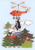 MT Maulwurf hängt am Hubschrauber Postkarte