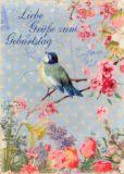 GOLLONG Zum Geburtstag - Vogel m. Blüte - Carola Pabst Postkarte