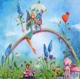 GOLLONG Elfe auf Regenbogen - Mila Marquis Postkarte
