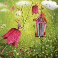 GOLLONG Frau mit Schachbrettblume - Mila Marquis Postkarte