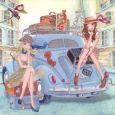 GOLLONG Frauen mit Auto - Cartita Design Postkarte