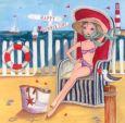 GOLLONG Frau im Strandkorb - Cartita Design Postkarte