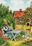 TAURUS-KUNSTKARTEN Pfannkuchenessen Petersson & Findus Postkarte