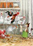 TAURUS-KUNSTKARTEN Findus mit Hühnern Petersson & Findus Postkar