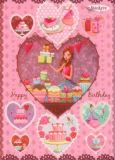 GOLLONG Happy Birthday - Torten in Herzen Sticker Postkarte