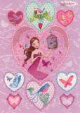 GOLLONG Frau mit Vögeln in Herzen Sticker Postkarte
