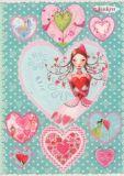 GOLLONG Frau mit Herzen Sticker Postkarte