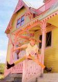 MT Pippi vor Villa Kunterbunt - Pippi Langstrumpf Postkarte