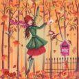 GOLLONG Frau im Herbstwald - Cartita Design Postkarte