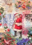 ROGER LA BORDE Patchwork Santa Xmas Glitzer Postkarte