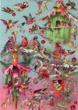 ROGER LA BORDE Musical Birds Xmas Glitzer Postkarte