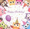 TAURUS-KUNSTKARTEN Happy Birthday - Bunte Eulen Postkarte