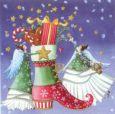 GOLLONG Zwei Engel mit Weihnachtsstiefel - Nina Chen Postkarte