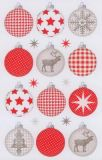 BSB Weihnachtskugeln rot/grau Sticker