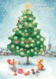 GOLLONG Weihnachtsbaum mit Tieren - Nina Chen Postkarte