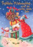 GOLLONG Weihnachtsmann mit Teddy - Nina Chen Postkarte
