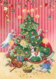 GOLLONG Engel & Nikolaus mit Tannenbaum - Nina Chen Postkarte
