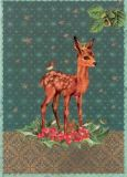 ROGER LA BORDE Deer with Crown Glitzer Postkarte
