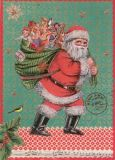 ROGER LA BORDE Santa with Sack of Gifts Glitzer Postkarte