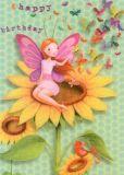 GOLLONG Happy Birthday / Elfe Sonnenblume Mila Marquis Postkarte