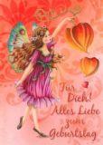 GOLLONG Geburtstag / Elfe mit Lampionblume - Nina Chen Postkarte