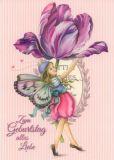 GOLLONG Geburtstag / Elfe mit Tulpe - Nina Chen Postkarte