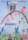 GOLLONG Geburtstag /Frau auf Regenbogen - Mila Marquis Postkarte
