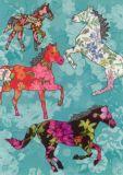 ROGER LA BORDE Aqua Patterned Horses Glitzer Postkarte