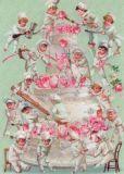 ROGER LA BORDE Wedding Cake Chefs Glitzer Postkarte