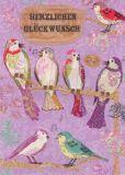 ROGER LA BORDE Lilac Birdhouse Glitzer Postkarte
