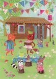 ROGER LA BORDE Birthday Picnic Glitzer Postkarte
