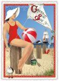 TAUSENDSCHÖN Gruß von der See - Frau mit Ball Postkarte
