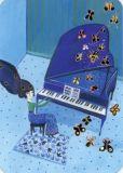 CARTES DART Piano Glitzer Postkarte