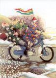 TAURUS-KUNSTKARTEN Frauen auf Motorrad - Inge Löök Postkarte